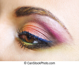 Close up portrait of a beautiful young model with bright make up