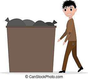 Vector cartoon hobo beggar jobless man dumpster - Vector...