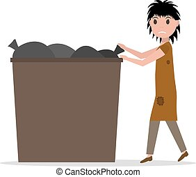 Vector cartoon hobo beggar jobless woman dumpster - Vector...