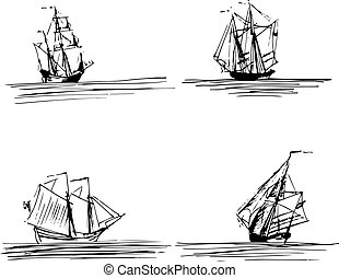 Vector illustration of sailing ships or boats in the sea. Hand sketched schooners, brigantines. Marine theme design.