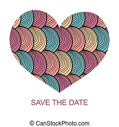 Wedding romantic invitation card with hand drawn heart. Save the Date invitation in vector.