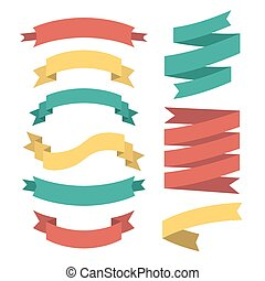 Vector set of different ribbons in flat style.