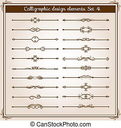 Retro simple scroll page dividers. Vector vintage separating...