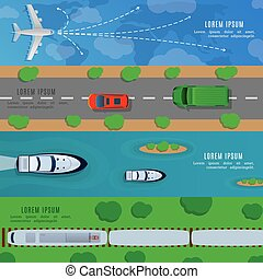 Travel and transportation horizontal banners with ship car, plane train top view vector illustration