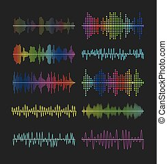 Multicolored graphic equalizer waves, soundtrack waveforms...