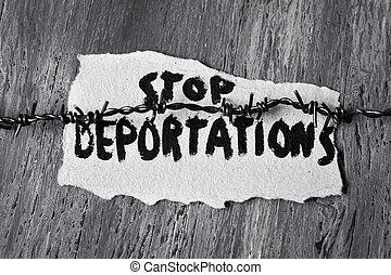 texto, farpado, fio, parada,  deportations