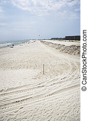 Cleaned Gulf Coast Sand - Cleaned sand sits along a quiet...