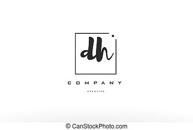 dh d h hand writing letter company logo icon design - dh d h...