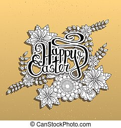 Happy Easter card. Easter holiday background. Hand drawn...