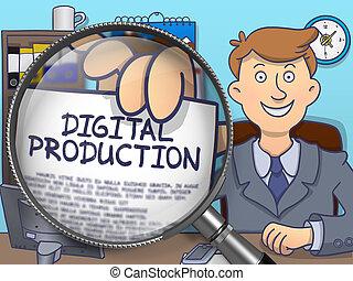 Digital Production through Magnifier. Doodle Concept.