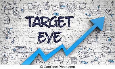 Target Eye Drawn on White Brick Wall.
