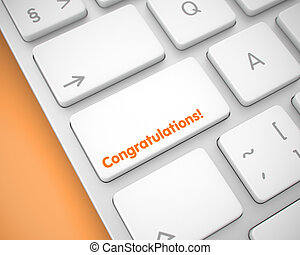 Congratulations - Text on White Keyboard Keypad. 3D. -...