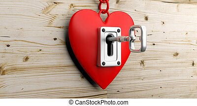 Heart with lock and key on a wooden background. 3d...