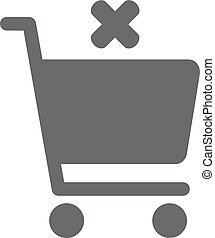 Flat icon of cancel shopping chart - Flat icon of shopping...