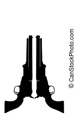 Old Cowboy Pistols. - Silhouette of old western cowboy...
