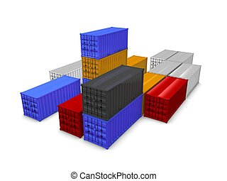 Crago containers - 3d render of cargo containers, isolated...