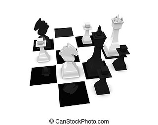 Checkmate - 3d render, chess game winning final move;...