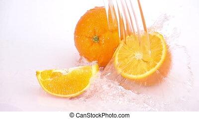 Orange Slice Washed with Water. - Orange Slice Washed with...