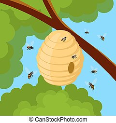 Honey bees and hive on tree branch. Vector illustration of bee house with a circular entrance. Insect life in nature.