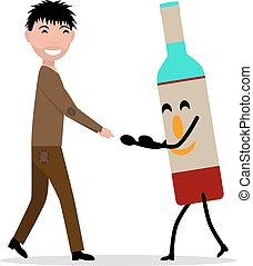 Vector cartoon young adult man with bottle alcohol - Vector...