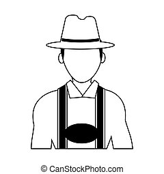 german culture icon image - man with traditional bavarian...