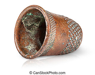 Old antique copper thimble horizontally