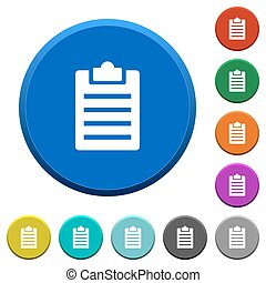Notes beveled buttons - Notes round color beveled buttons...