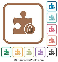 Lock plugin simple icons in color rounded square frames on...