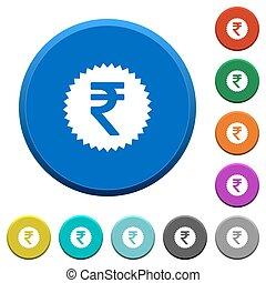 Indian Rupee sticker beveled buttons - Indian Rupee sticker...