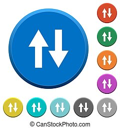 Data traffic beveled buttons - Data traffic round color...
