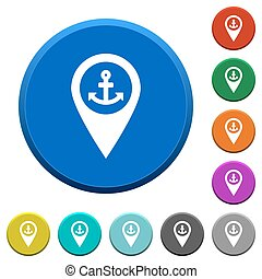Sea port GPS map location beveled buttons - Sea port GPS map...