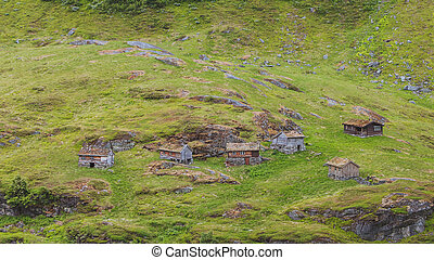Norwegian old country houses in mountains. - Norwegian old...