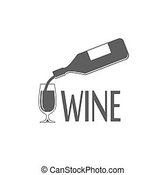 Black silhouette of wine bottle and glass - vector...