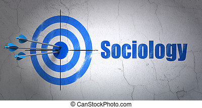 Learning concept: target and Sociology on wall background -...
