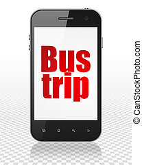 Travel concept: Smartphone with Bus Trip on display - Travel...