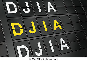 Stock market indexes concept: DJIA on airport board...