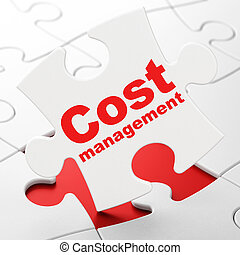 Finance concept: Cost Management on puzzle background -...