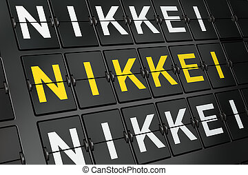 Stock market indexes concept: Nikkei on airport board...