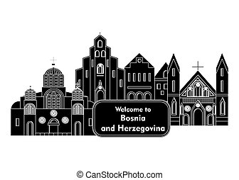 welcome to bosnia - illustration in style of flat design on...