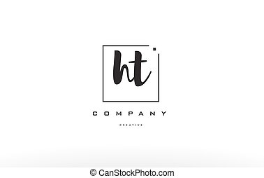ht h t hand writing letter company logo icon design - ht h t...