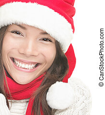 Christmas woman smiling portrait closeup - Christmas woman...