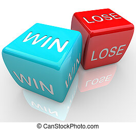 Dice - Win Vs Lose - A pair of dice with the words win and...