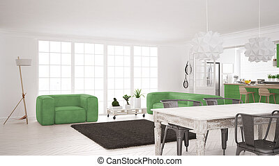 Minimalist white and green living and kitchen, scandinavian classic interior design