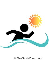 swiming athlete silhouette icon vector illustration design