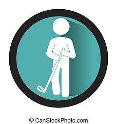 golfer athlete silhouette icon