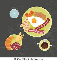 Breakfast on Black background - Breakfast with croissant,...