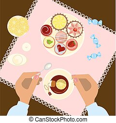 Menu for tea time - Person is eating, top view. Menu for tea...