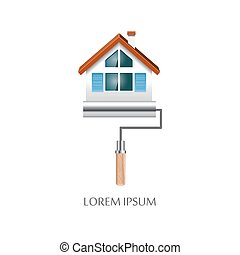 Paint roller with house symbol icon - Paint roller with...