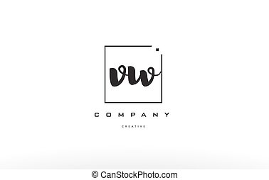 vw v w hand writing letter company logo icon design - vw v w...