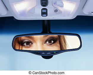synhåll, chaufför, ser, baksida, spegel